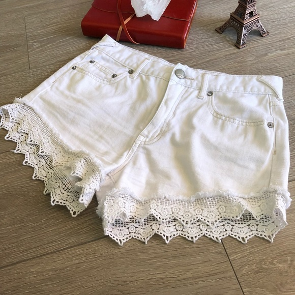 Free People Pants - Free People Lace Crochet Shorts Cotton White Denim